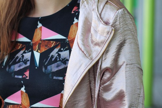 veste rose metallisée