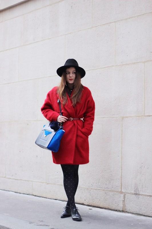 manteau rouge comptoir des cotonniers