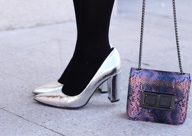 silver heels-sarenza-python bag
