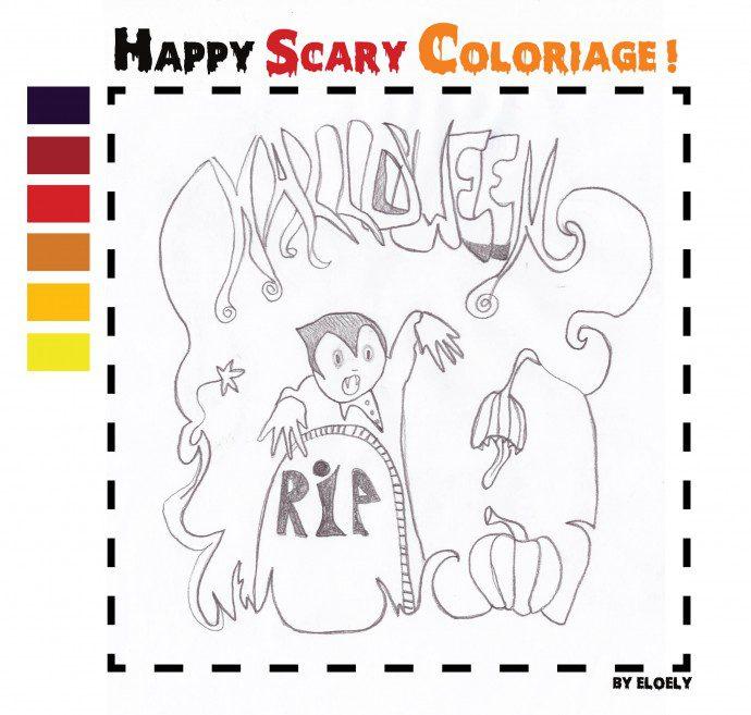 happy coloriage 690x657 Happy scary coloriage !