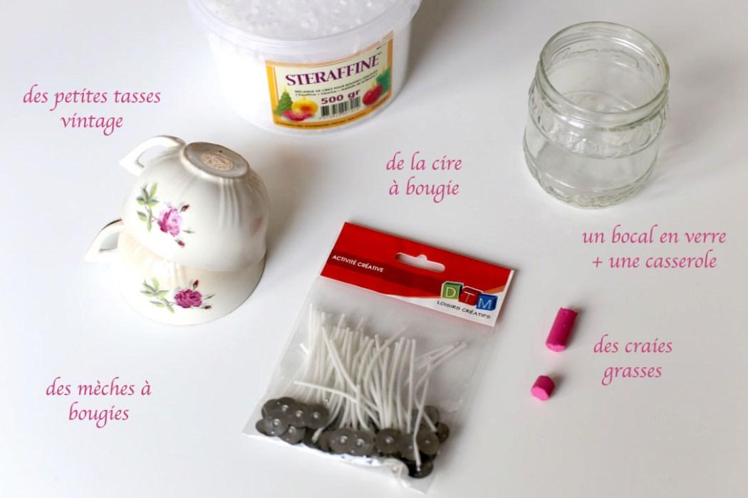 160323 fournitures bougie Détourner ses tasses vintage en bougies