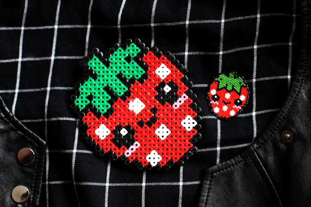 160421 fraise miyuki kawaii hama Une petite fraise Hama en perles Miyuki (diagramme gratuit))