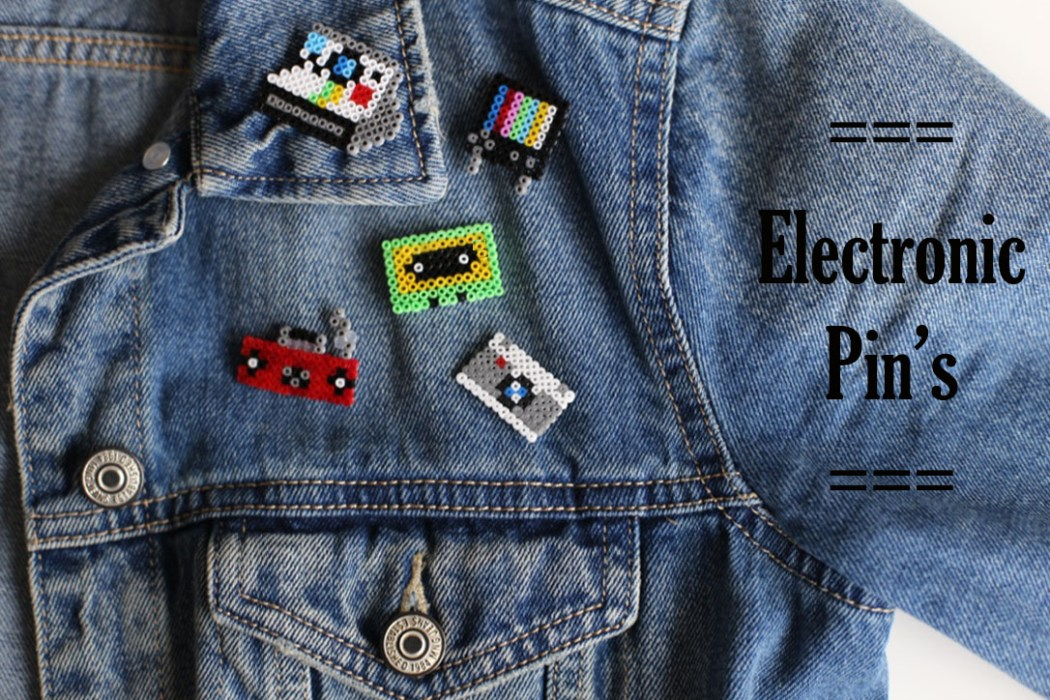 170125 electronic pins design vintage perles hama Mes badges electronic design en Mini perles Hama