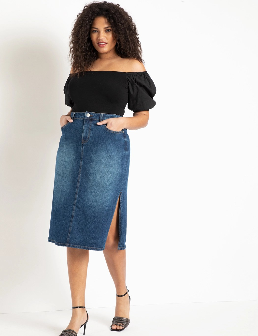 Denim Midi Skirt with Side Slits 5