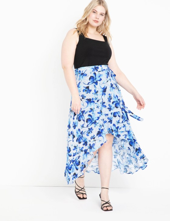 High Low Wrap Skirt with Flounce 7