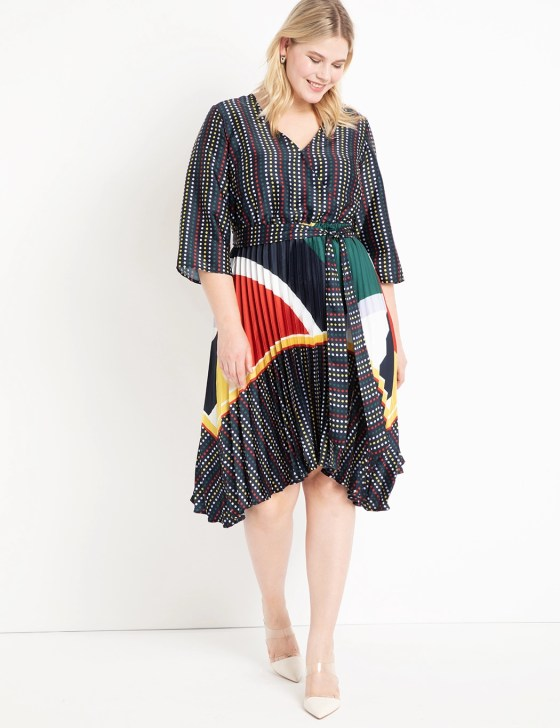 Mixed Print Dress with Pleated Skirt 7