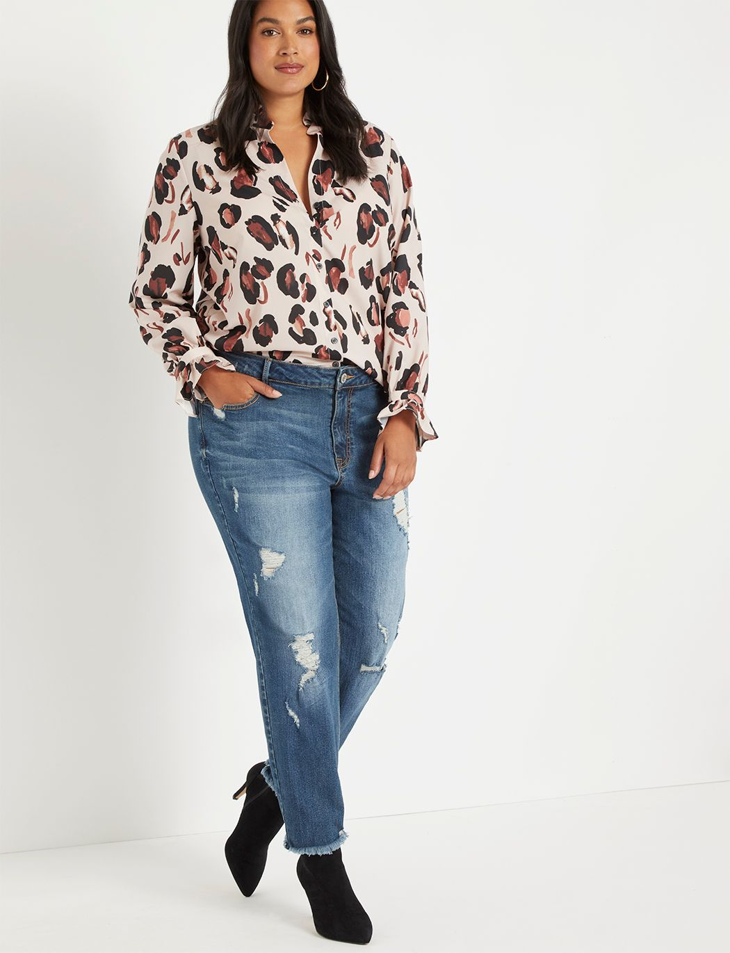 Printed Button Down Blouse with Ruffle Neck