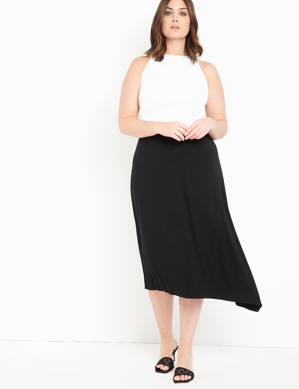 Knit Midi Skirt with Asymmetric Hem 7