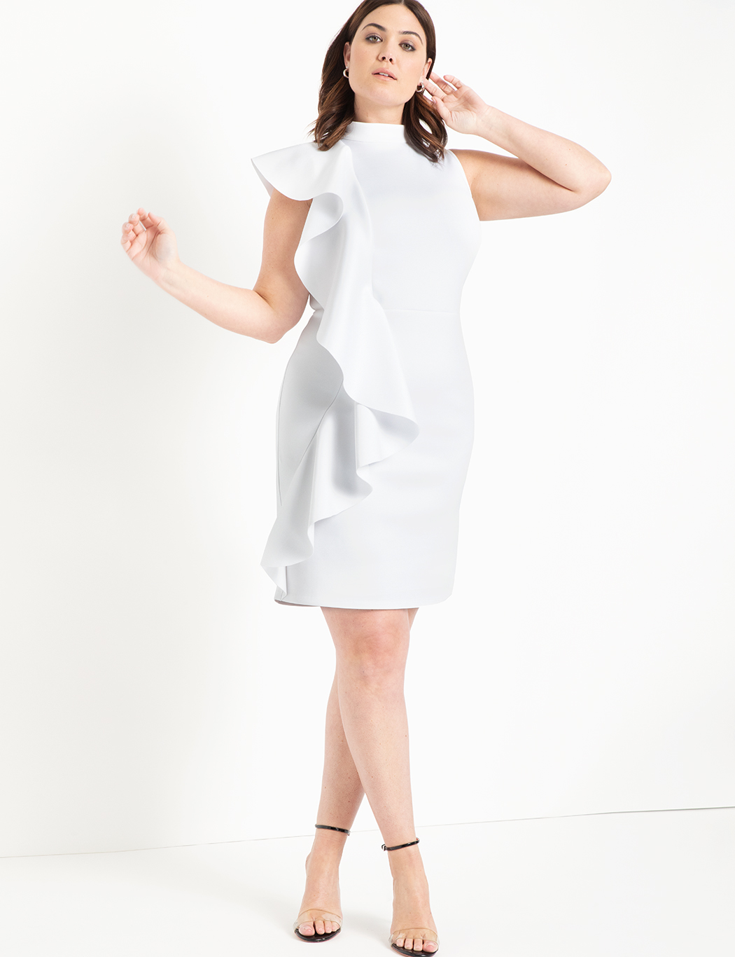 Ruffle Detail Mock Neck Dress