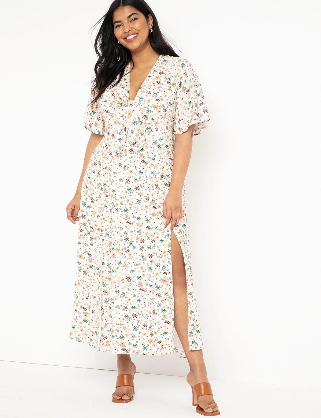 Flutter Sleeve Maxi Dress with Slits 10