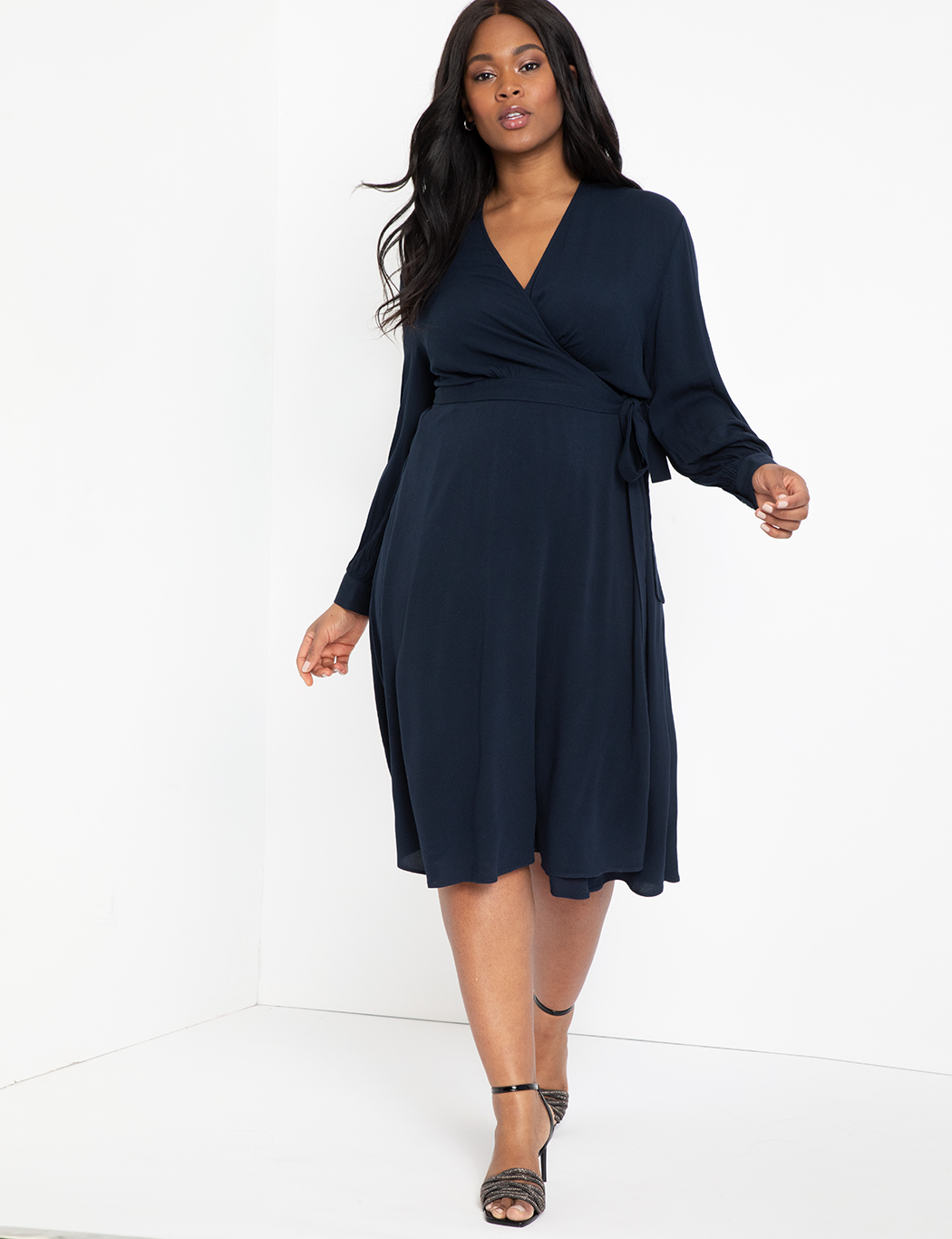 Long Sleeve Wrap Dress with Tie 9
