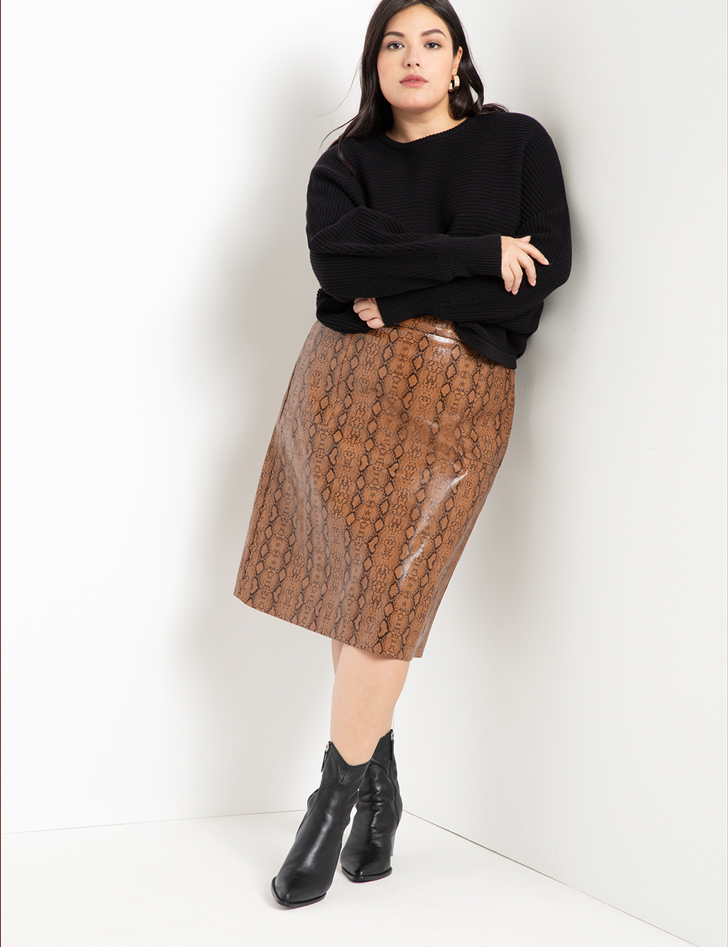 Faux Leather Snake Skirt 8