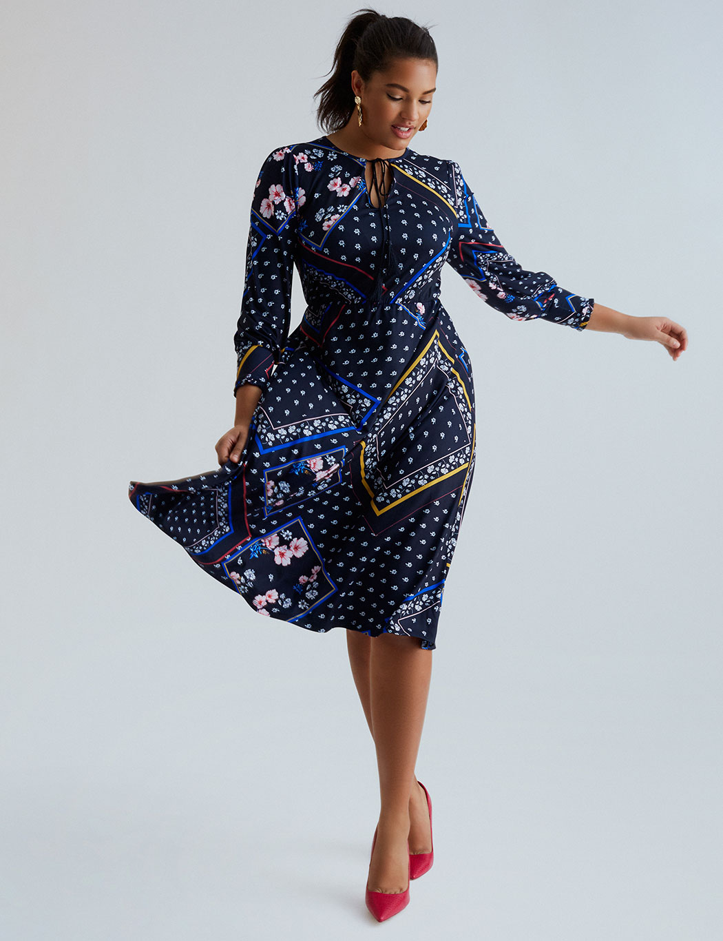 Mixed Print Tie Neck Fit and Flare Dress 4