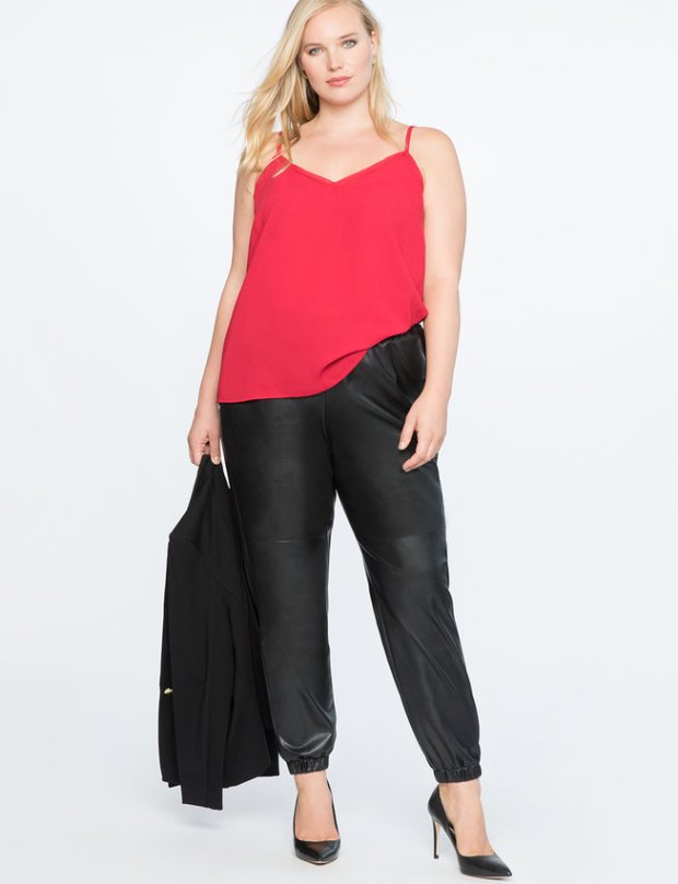 Faux Leather Track Pant