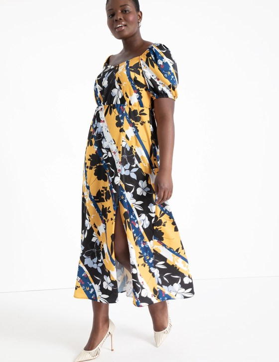 Mixed Print Sweetheart Dress 4