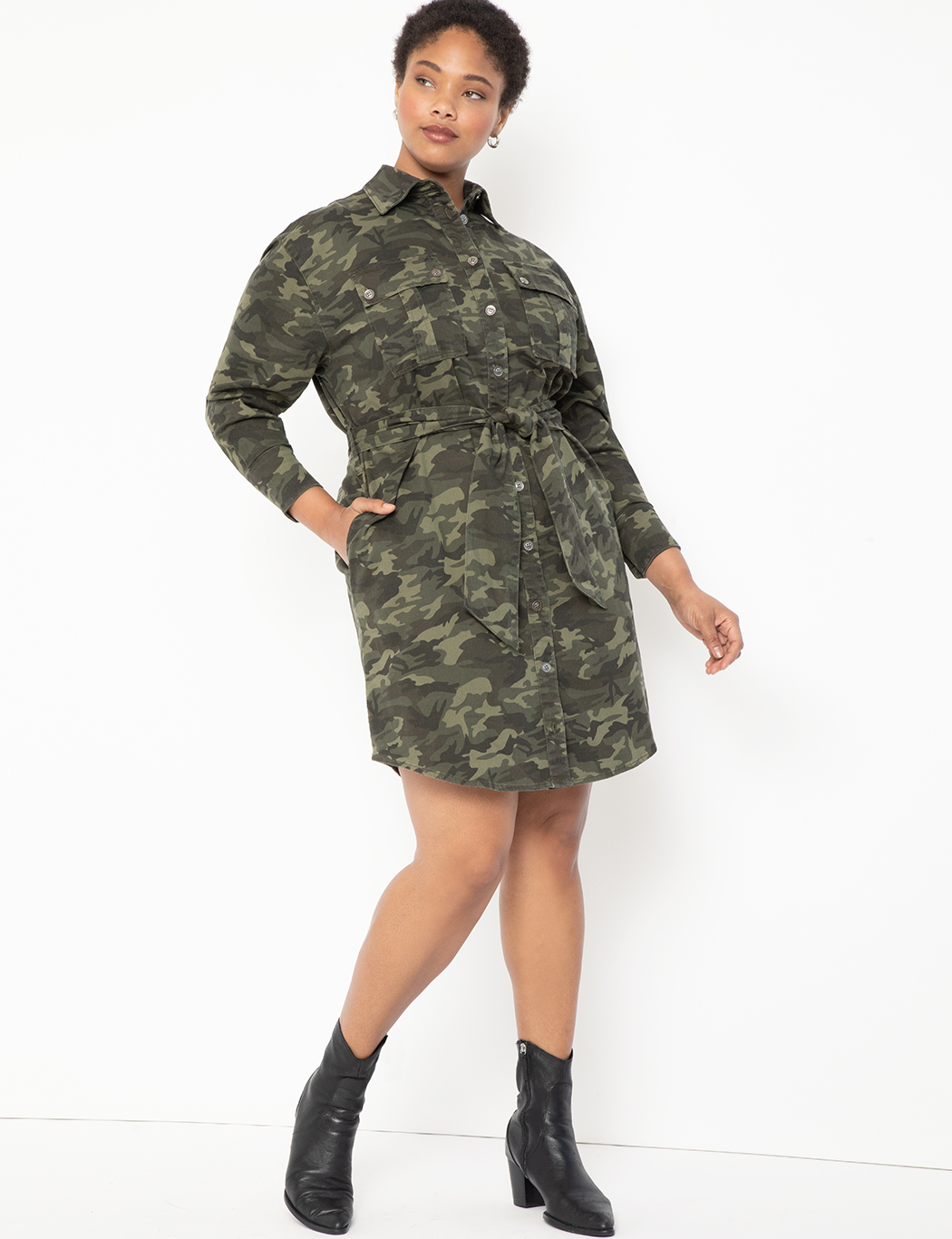 Belted Camo Dress