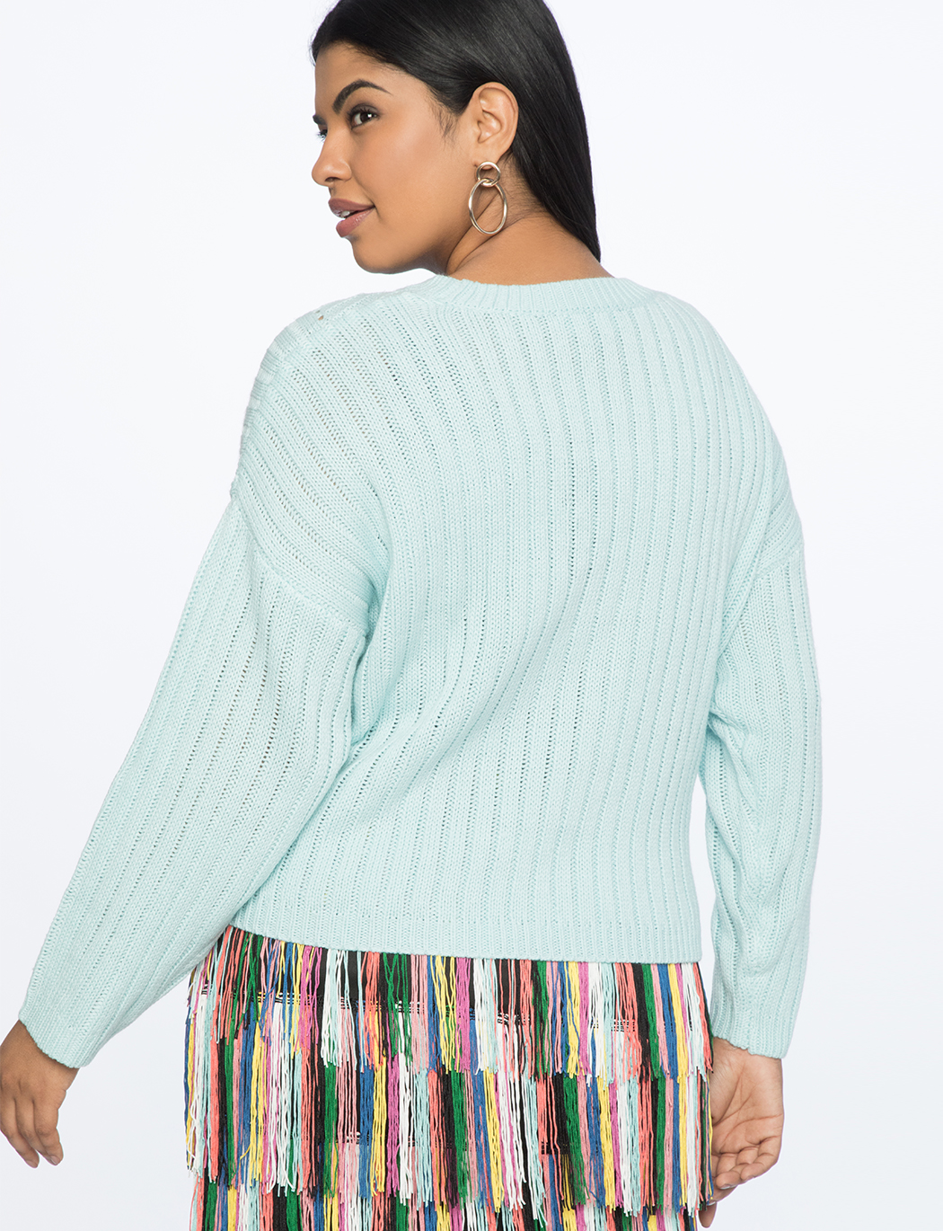 Stitching Detail Cropped Sweater