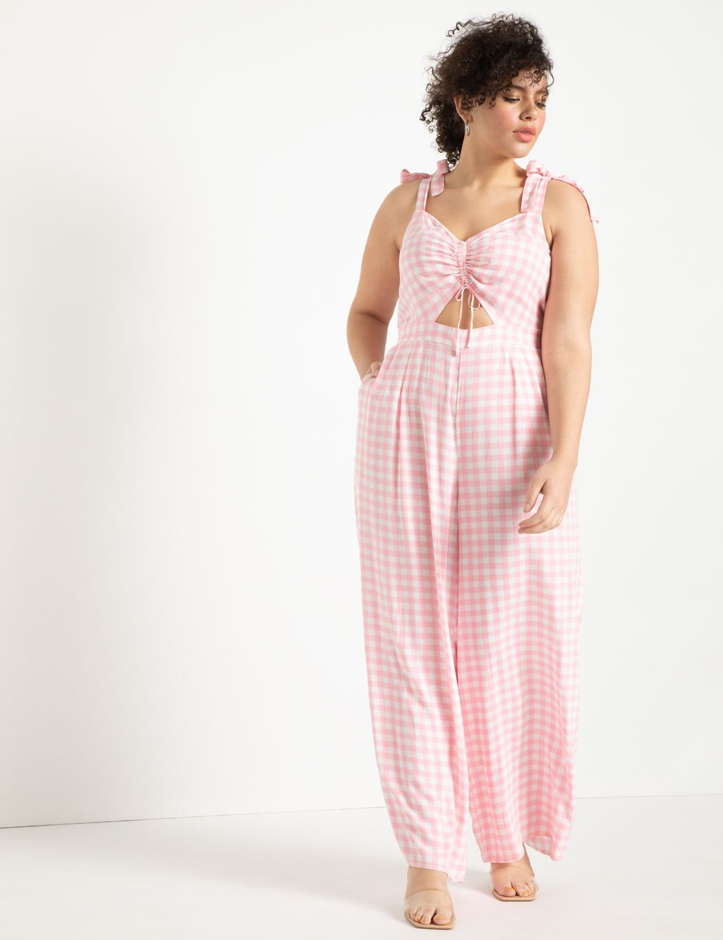 Printed Cinched Bodice Jumpsuit with Cutout