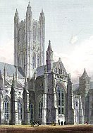 Earthlore Gothic Architecture: South transept tower rising over the crossing of Canterbury cathedral, England.