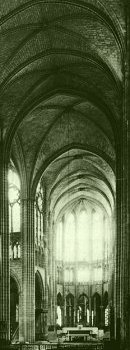 Earthlore Gothic Architecture: Quadripartite rib vault of nave at St-Denis, Paris.