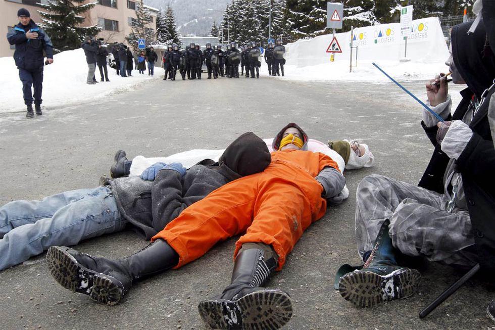 Protesta contra el Foro de Davos