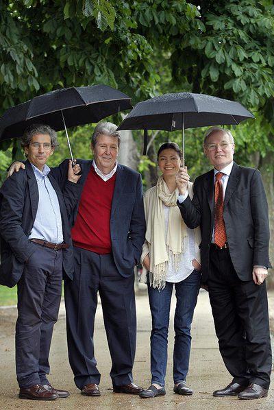 Joaquim Palau (RBA),  Jorge Herralde (Anagrama), Pilar Reyes (Alfaguara) y Jaume Vallcorba  (Acantilado)
