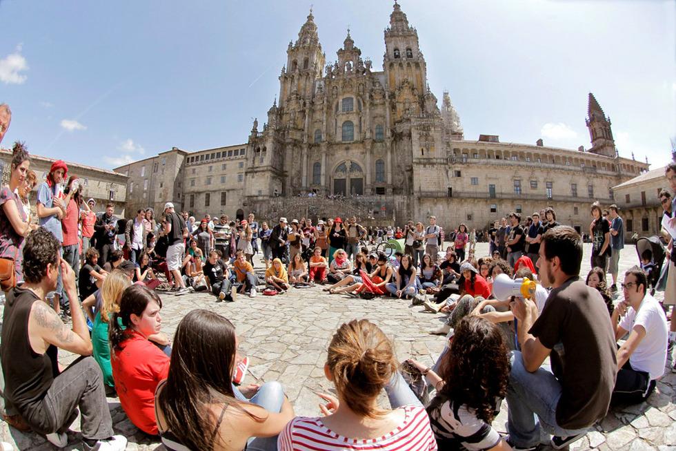 Frente a la catedral de Santiago
