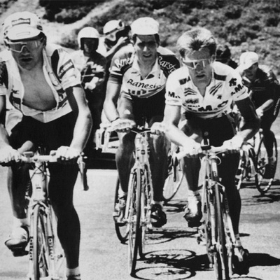 Chiappucci, Indurain, and Mottet ascending Tourmalet in 1991