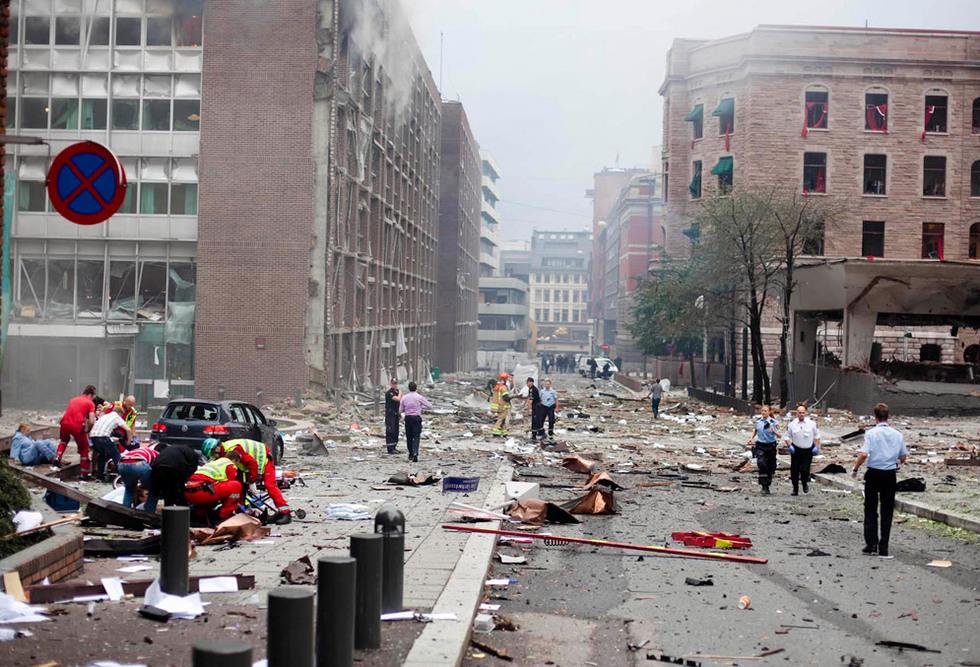 El centro de Oslo, tras el atentado