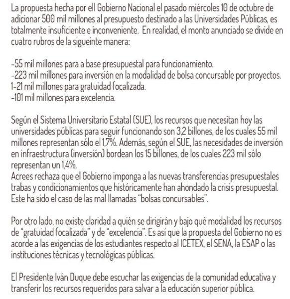 MULTITUDINARIO CLAMOR EN COLOMBIA POR LA EDUCACIÓN PÚBLICA