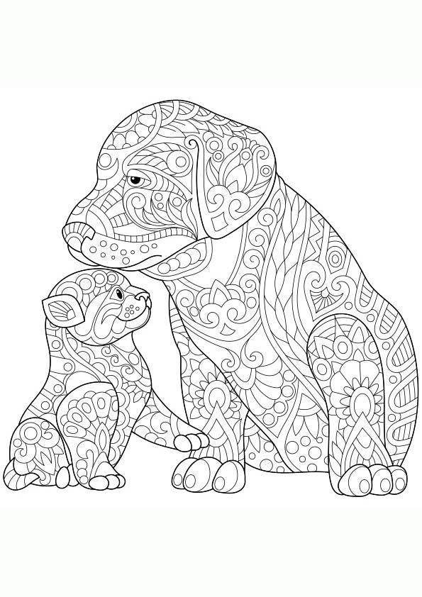Dibujo Para Colorear Mandala Ilustracin Silueta De Dos