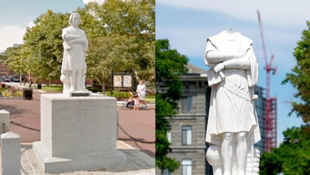 Newark-NY: cortan cabeza y retiran estatua de Cristobal Colón