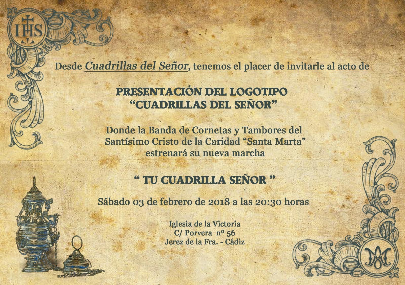 """Presentación de marcha y logotipo para """"Cuadrillas del Señor"""""""