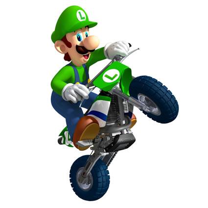 Luigi monta en moto
