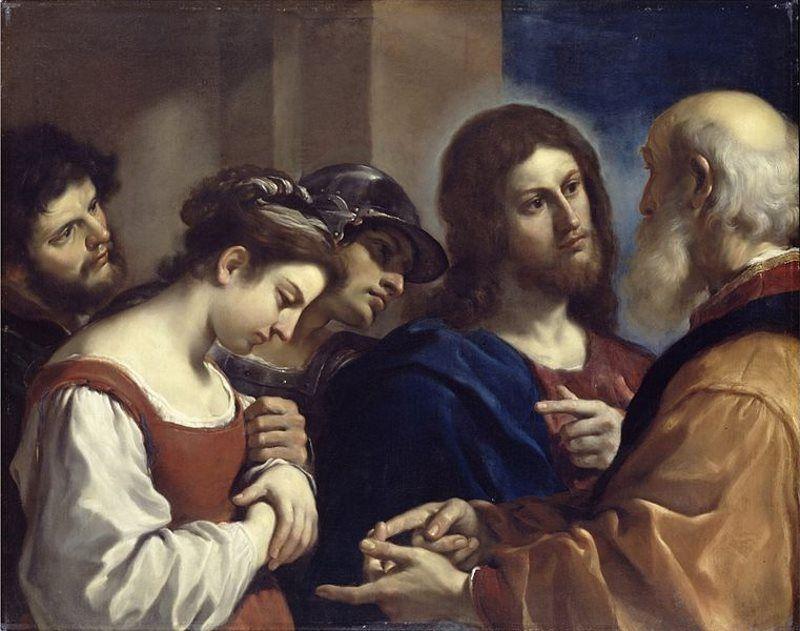Jesús en repetidas ocasiones anuló las sentencias de los juicios humanos considerándolas imperfectas y llenas de errores. En la imagen Jesús y la mujer adúltera pintado por Guercino.