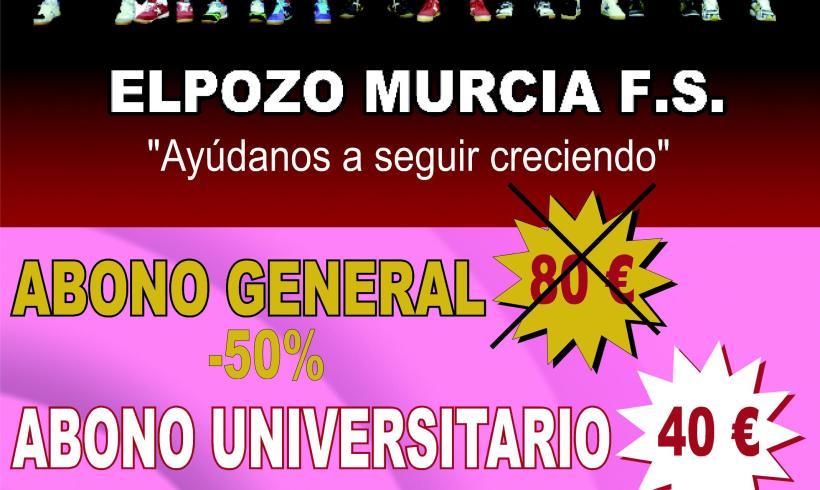 ElPozo Murcia FS lanza el abono universitario. Sólo en la Bienvenida Universitaria 40 euros