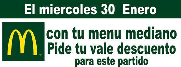 Sólo hoy en MCDONALDS consigue un descuento 3 Euros para ver éste viernes el partido ElPozo Murcia-Puertollano
