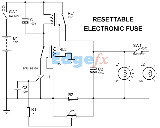 Resettable Electronic Fuse General Electronic Circuits