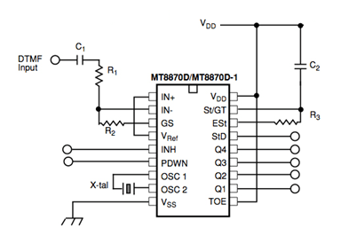 dtmf decoder ic mt8870 pin diagram hdmi to rca wiring encoders and decoders introduction working with different ics mt8870c circuit