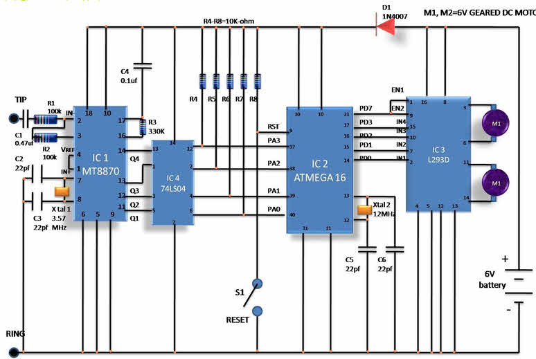 dtmf decoder ic mt8870 pin diagram solar panel wiring caravan world news newspapers channels circuit of cell phone operated land rover