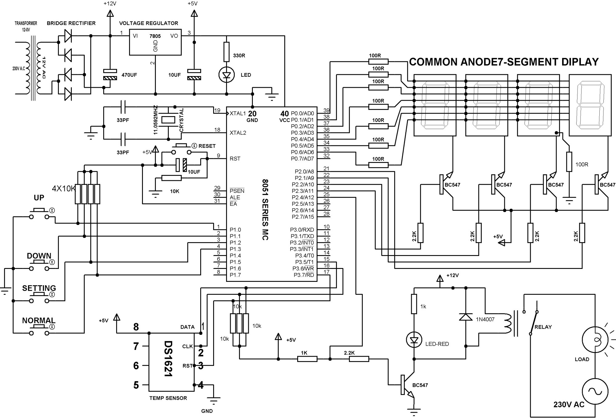hight resolution of digital temperature controller schematic diagram