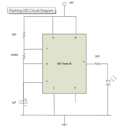 how to draw a circuit diagram 97 civic ex radio wiring making of flashing blinking led using 555 timer ic