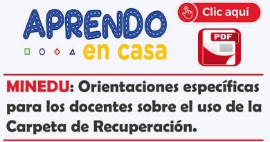 MINEDU: Orientaciones específicas para los docentes sobre el uso de la Carpeta de Recuperación.
