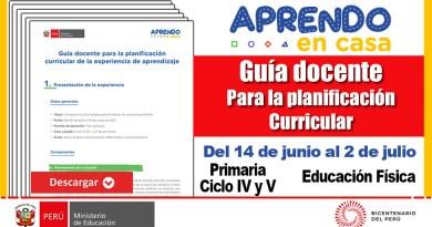 Guía docente para la planificación curricular de la experiencia de aprendizaje. Del 14 de junio al 2 de julio. Ciclo IV y V (3.er, 4.o, 5.o, y 6.o de primaria) Educación Física.