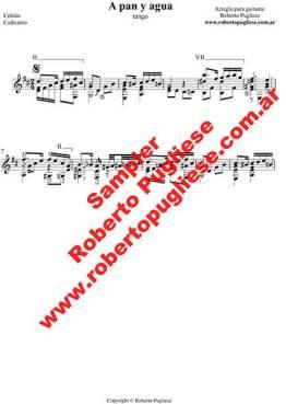 A Pan Y Agua ejemplo de la partitura para guitarra, arreglo de Roberto Pugliese - TAB