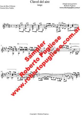 Ejemplo de la partitura Clavel del aire para guitarra arreglo del maestro Roberto Pugliese