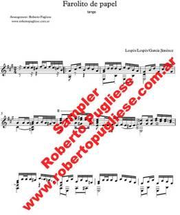 Farolito de papel 🎼 partitura de tango en guitarra