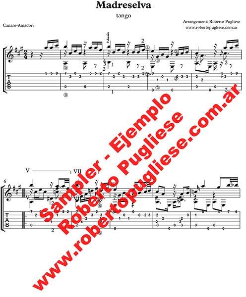 Madreselva 🎼 partitura del tango guitarra y video
