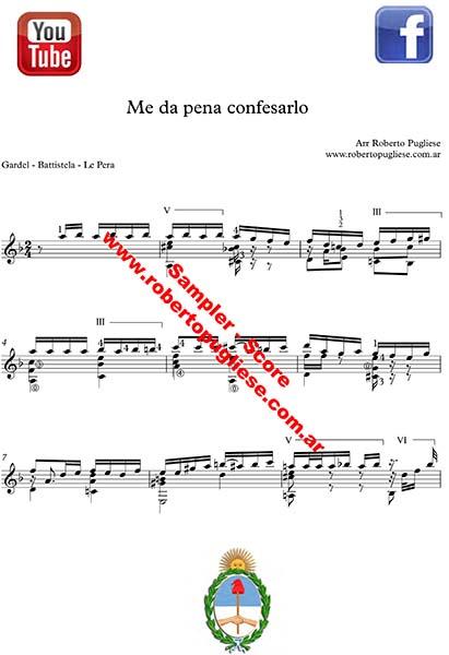 Me da pena confesarlo 🎼 partitura del tango en guitarra. Con video