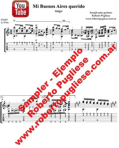 Mi Buenos Aires querido 🎼 partitura del tango en guitarra.
